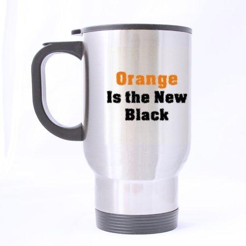 Mensuk Modern Orange Is the New Black Travel Mug (Silver)-14 ounces