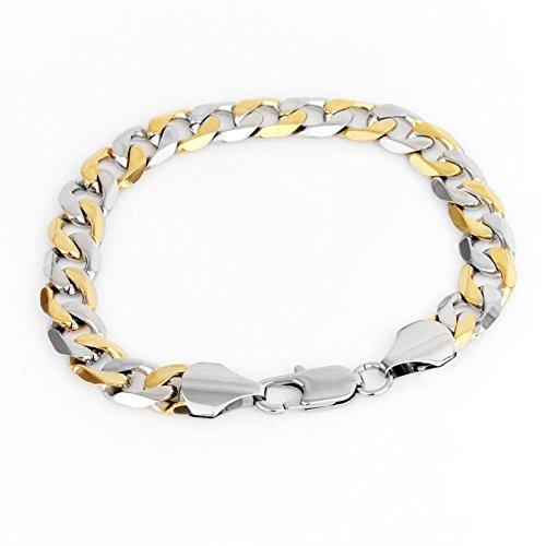 YSM 190 millimetri Bracciale Chain del bordo in acciaio inossidabile Bracciale 9,5 millimetri larghezza del braccialetto di fascino per uomini e donne (argento + oro)