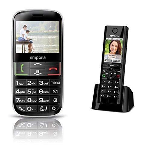 Emporia Euphoria V50 Großtastenhandy, Schwarz & AVM FRITZ!Fon C5 DECT-Komforttelefon (hochwertiges Farbdisplay, HD-Telefonie, Internet-/Komfortdienste, Steuerung FRITZ!Box-Funktionen) schwarz,