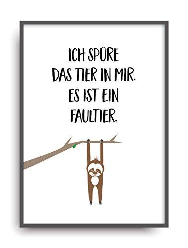 faultier poster Moderner Vintage Poster Druck TIER IN MIR Fine Art Kunstdruck Deko Bild Print Plakat DIN A4 Geschenk