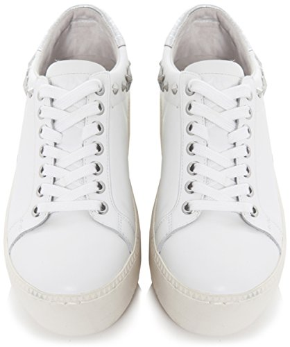 Ash Femmes Cyber de cuir clouté formateurs Blanc Blanc