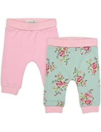 The Essential One - Bebé Niñas Floral Paquete de 2 Pantalones/Leggings - Turquesa/Rosado - TESS18