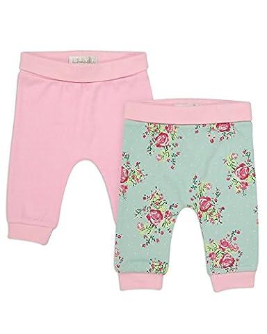 The Essential One - Bébé Fille Floral Pantalons/Leggings Lot de 2 - Rose/Turquoise - 74/80cm | 9-12m - TESS18