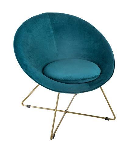 Atmosphera - Fauteuil en Velours Bleu et Pieds métal Or Blush linving