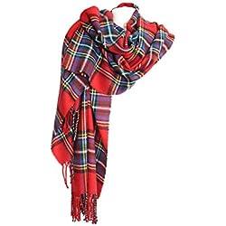 Samanthajane ropa para mujer para hombre escocés tartán a cuadros grandes bufanda azul rosso Talla única