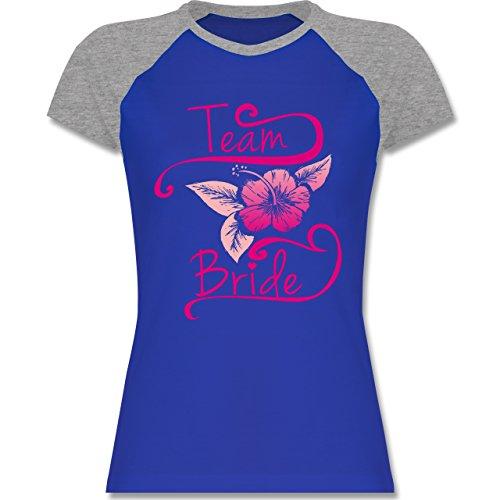 JGA Junggesellinnenabschied - Team Bride Blume Pink - zweifarbiges Baseballshirt / Raglan T-Shirt für Damen Royalblau/Grau meliert