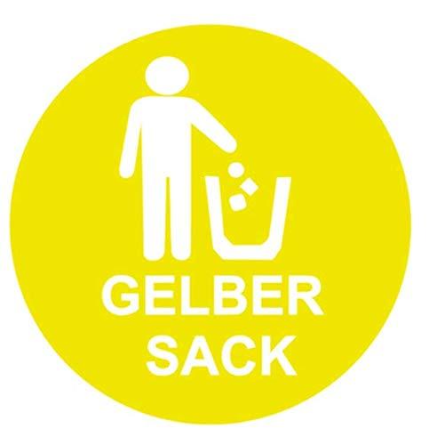 Mülltonnen Aufkleber 15x15cm Mistkübel Mülleimer Aufkleber für Deutschland Restmüll Altglas gelber Sack Metall Bio Kunststoff Papier 187/1 (gelber Sack)