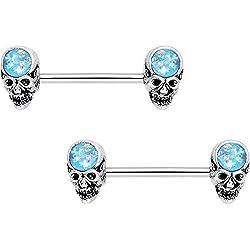 """BodyCandy acero iridiscente azul, piercing de calaveras de pezón, 2 unidades, calibre 14 5/8"""""""