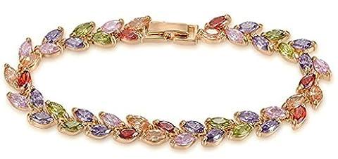 AnazoZ Mode Bijoux Femme Bracelet plaqué or Bracelets pour femme blé Forme Multicolor CZ Lien Couleur or rose