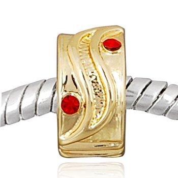 Andante-Stones perle Or 14K Gold Bead Clip Stopper zircon rouge Élément bille pour perles European Beads + Étui en organza
