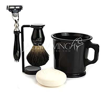 NEW Classic old style Shaving Kit with badger hair shaving Brush shave Mug Mach 3 Razor & Soap Gift set