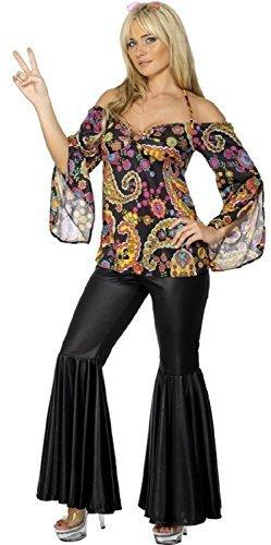 Fancy Me Damen 1960s Jahre 1970s Hippie Hippy ausgestellt Jahrzehnte Junggesellinnenabschied Kostüm Kleid Outfit UK 8-26 Übergröße - Schwarz, Schwarz, 24-26