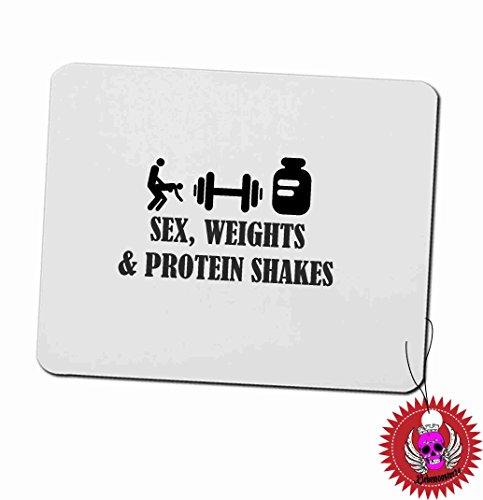 """Preisvergleich Produktbild Mousepad 3mm mit Aufdruck Spruch """" Sex Weights Protein Shakes … """" Bedrucktes Mousepad mit Moosgummi unterseite für Büro und Gamer"""