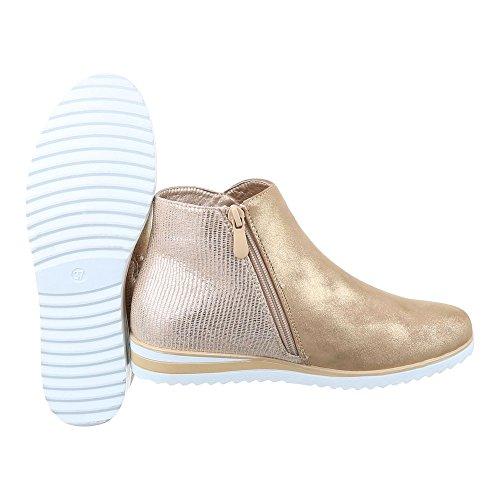 Ital-Design Chelsea Boots Damen Schuhe Chelsea Boots Keilabsatz/ Wedge Moderne Reißverschluss Stiefeletten Gold