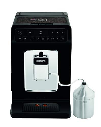 Krups YY3071FD Machine à Café Automatique avec Broyeur à Grains Evidence avec Pot à Lait Ecran OLED Cafetière Café Espresso Expresso Cappuccino 15 Bars Noir