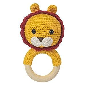 Häkel-Löwe – Amigurumi Greifling – Rassel – Ring aus Holz – Babyrassel – Geschenk für Babys – Mädchen und Jungen – Babyspielzeug