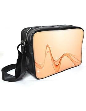 Snoogg Abstrakt orange Wellen Leder Unisex Messenger Bag für College Schule täglichen Gebrauch Tasche Material PU