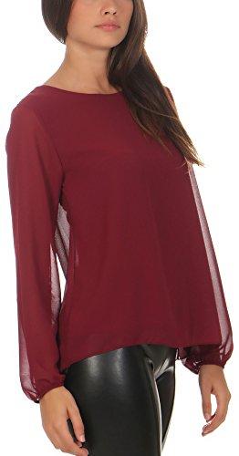 Malito Damen Chiffon Bluse | Tunika mit Fledermaus Ärmeln | Blusenshirt Leicht Durchsichtig | Elegant �?Shirt 6223 Bordeaux