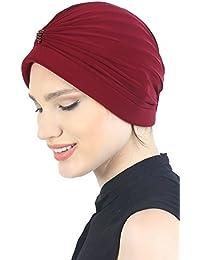 Pearl detallado turbantes para mujer cancer (Borgoña)