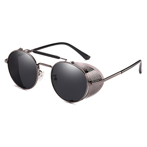 Juleya Gothic Steam Punk Glasses Mirror Driving Mujeres Hombres Steampunk Gafas de sol C6