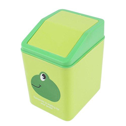 Sourcingmap Kunststoff Büro Desktop grün Frosch Muster Müll W Schwingtür