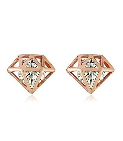 Boucles d'oreilles diamant Boucles d'oreilles plaqué or rose cristal Swarovski