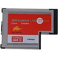 SODIAL (R) 2 puertos USB 3.0 54mm expreso tarjeta presilla de ASM PCMCIA Express Card para el ordenador portatil