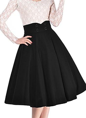 Miusol Femme Rétro élégante Jupe Taille Haute Jupe Plissée Genou Sexy Haute - XX-Large - Noir