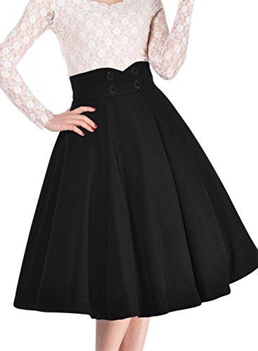 Miusol-Damen-Elegant-Faltenrock-Zweireiher-Causal-Business-Vintage-1950er-Jahr-Rcke