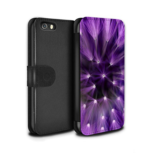 Stuff4 Coque/Etui/Housse Cuir PU Case/Cover pour Apple iPhone 5/5S / Jaune Design / Couleur/Lumière Fleur Collection Pourpre