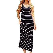 SOMTHRON Mujer Vestido Largo de Rayas de Algodón sin Mangas con Cuello en Línea Escote Redondo