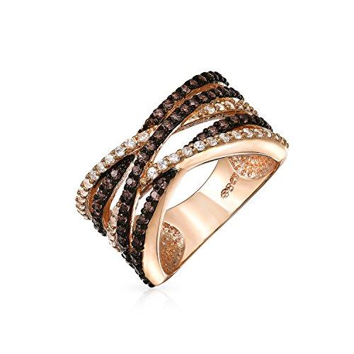 Bling Jewelry Crossover Erklärung Criss Cross Zwei Ton Braun Kaffee Ebnen AAA Cz Erklärung Band Ring Für Frauen Rose Vergoldet Messing -