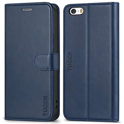 TUCCH iPhone SE Hülle iPhone 5 Hülle iPhone 5s Hülle, Handyhülle iPhone SE / 5s / 5 Tasche mit [TPU-Innenschale] [Kartenfach] [Standfunktion], Lederhülle in Bookstyle für iPhone SE / 5s / 5,Blau