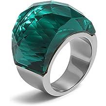 Vnox 17mm da donna in acciaio inox grande gemma Anello a fascia per fidanzamento promessa, pietra verde Base