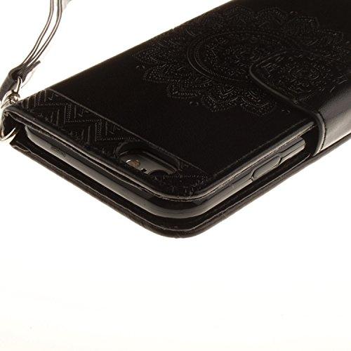 Case pour la Apple iPhone 6 Plus (5.5 pouces) Coque,Campanula plume Étui en PU Cuir Phone Case Cover Couverture Fonction Support avec Fermeture Aimantée de Feuille Motif Imprimé+Bouchons de poussière  4