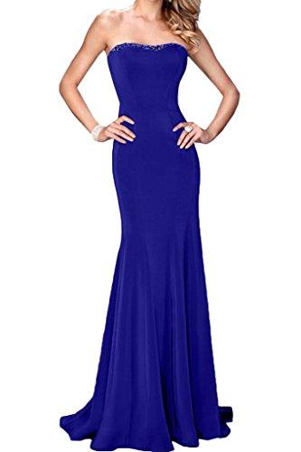 Ivydressing Damen Modisch Traegerlos Steine Etui-Linie Partykleid Promkleid Festkleid Abendkleid Royalblau