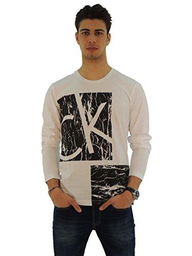 Calvin Klein t-shirt uomo manica lunga con stampa J31J30289I038 White