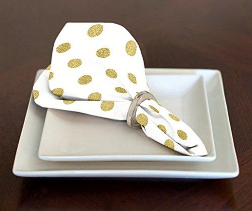 A LuxeHome weiß und Metallic Gold Modernes Polka Dot Mittag- Oder Abendessen Servietten 43,2x 43,2cm Set von 4 (Baumwolle Bandana Servietten)