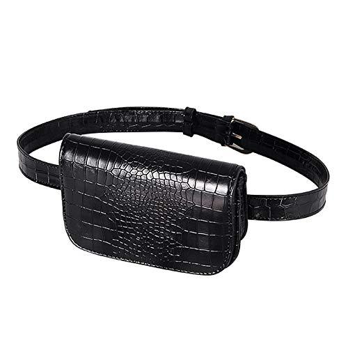 whbage Bolsa de cinturón Riñonera para Hombres y Mujeres Bolso De Cintura Vintage Mujer Cocodrilo PU Cinturón De Cuero Bolsa Cintura Paquete Cinturón De Viaje Carteras Bolsos Damas