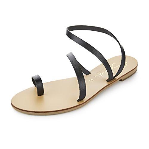 Schmick Shoes Sandalen Hekate: Damen Leder Zehentrenner Sommerschuhe Riemchensandale Flacher Absatz Handgefertigt Größe:40, Farbe:Schwarz/Schwarz (Leder Fashion Sandale)