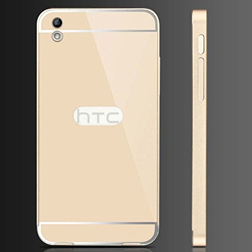 Archpro Premium Metal Bumper Acrylic Mirror Back Cover Case For HTC Desire 816 (Golden Color)