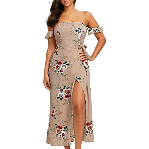 Damen sommer Strandkleid Rosennie Frauen Arbeiten Sie mode lose Casual Elegant Partykleid Womens Casual Long Dress High Slit Blumendruck Schulter Maxi-Kleid (Khaki, S)
