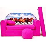H29 Minicouch Kindersofa Baby Sofa Set Sitzkissen Matratze (H29 rosa Pferde)