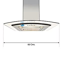 Glen Kitchen Chimney GL 6071 EX 60cm 750m3/hr Easy Clean Baffle Filter - Life Time Warranty Wall Mounted Chimney