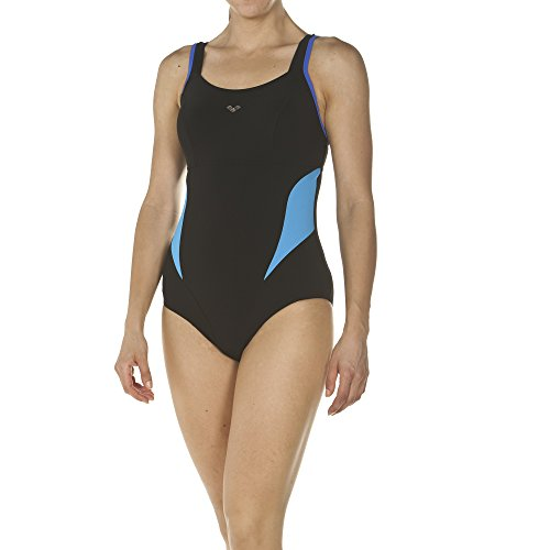 arena Damen Bodylift Badeanzug Makimurax Low C-Cup (Shapingeffekt, Figurformend, Schnelltrocknend, UV-Schutz), Black-Bright Blue-Turquoise (577), 44