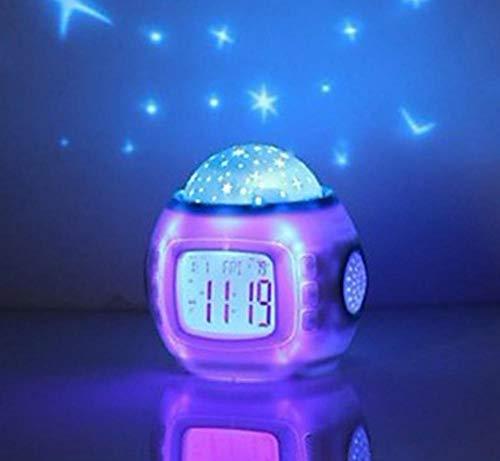 YAOUAEC Musik Sternenhimmel Projektionswecker Snooze Digital Led Wecker Kalender Thermometer Projektionslicht