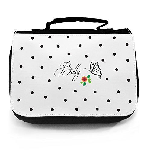 Sac de lavage pour lavage sac trousse bourse sac de lavage Voyage cosmeticbag avec pois papillon fleurs et nom nom personnalisé wt014