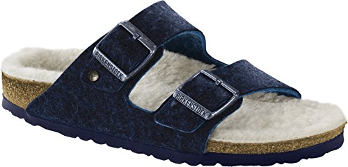 BIRKENSTOCK Arizona WZ Doubleface Unisex - Erwachsene Sandaletten,Damen,Herren Sandalen,Hausschuhe,Filz,warm,Wolle,Orig Fußbett,Blau,41S