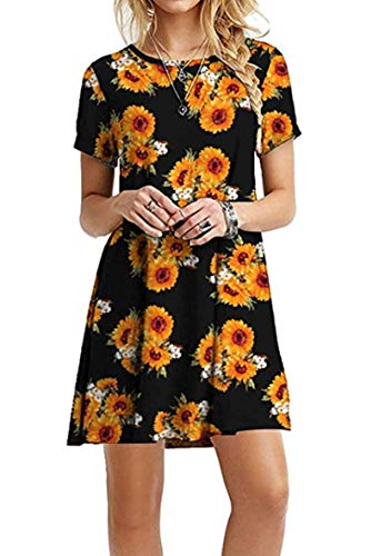 YMING Damen Casual Blusenkeid Lose Tunika Casual T-Shirt Kleid Kurzarm Basic Strickkleid,Schwarze Sonnenblume,XXL/DE 44 (Frauen Size Für Shirt Plus Kleid)