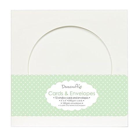 Trimcraft Colombe Craft Cartes avec enveloppes 15x 15cm Cercle fenêtre, acrylique, multicolore, 3pièces